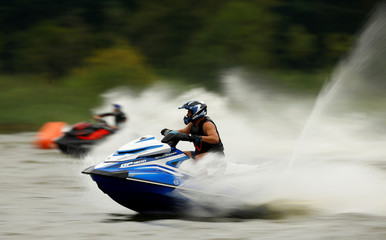 Aquabike drivers take part in Aquabike Cup of Baltic countries at an entertainment centre near the village of Pleshchenitsy