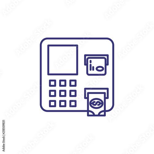 Cash machine line icon  ATM, cash withdrawal, payment  Bank concept