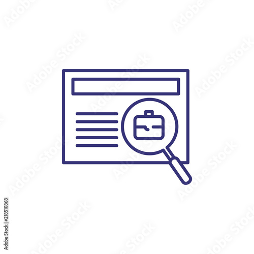 Job search line icon  Profile, briefcase through magnifier glass