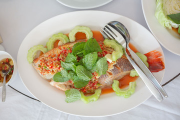 Steamed Fish with Chili Lime Sauce,thai lime fish.
