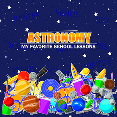 Illustration on the astronomy school theme. All elements are located on different layers and can be easily manipulated.