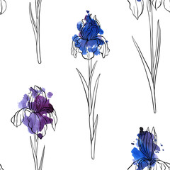 vector seamless pattern with flowers of iris