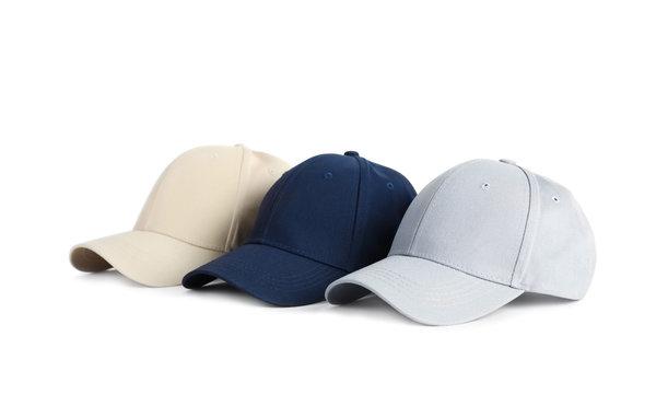 Baseball caps on white background. Mock up for design
