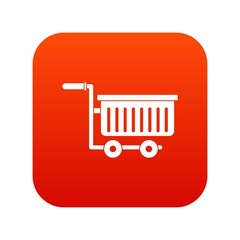 Large plastic supermarket cart icon digital red for any design isolated on white vector illustration