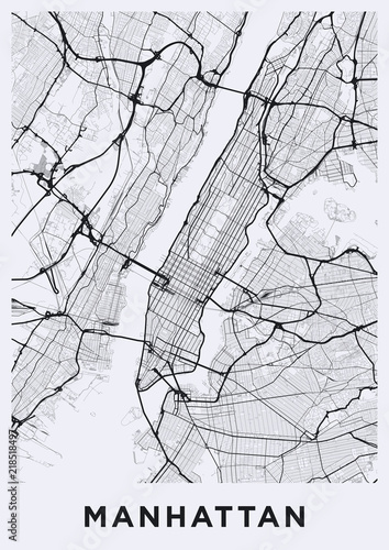 Road Map Of Manhattan.Light Manhattan New York Map Road Map Of Manhattan Nyc Black