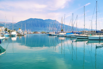 landscape of Kalamata Messinia Peloponnese Greece - harbor with yachts and sailboats