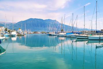 landscape of Kalamata Messinia Peloponnese Greece - harbor with yachts and sailboats