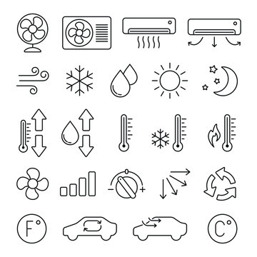 Air conditioning related icons: thin vector icon set, black and white kit