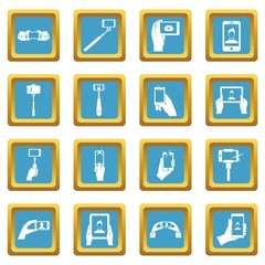 Selfie icons set in azur color isolated vector illustration for web and any design