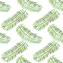 seamless pattern with watercolor fern leaves
