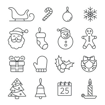 Christmas and New Year related icons: thin vector icon set, black and white kit