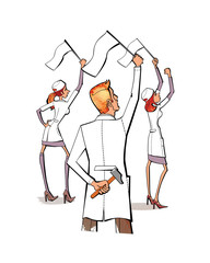 Two women and a man in white uniform with white flags in their hands.The hammer behind the man in the hand.  Protest. Strike. Medicine and pharmacology. On a watercolor background.