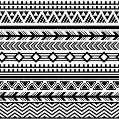 Ethnic boho tribal indian seamless pattern. Black and white pattern for textile design. Vector illustration.