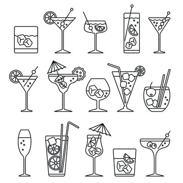 Cocktails set related icons: thin vector icon set, black and white kit