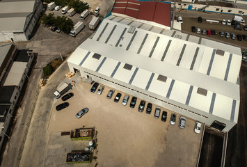 Aerial view from a factory building, wharehouse. Drone photo
