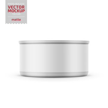 Tuna can with label on white background.