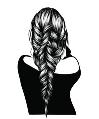 Fashion illustration of a girl with heathy long hairstyle. Hand-drawn braid for web, brochure, templates, post, business card.