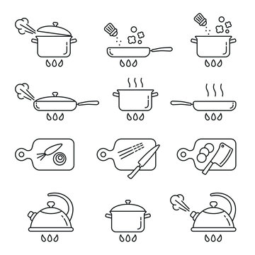 Cooking related icons: thin vector icon set, black and white kit
