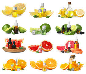 Set with fruit essential oils on white background