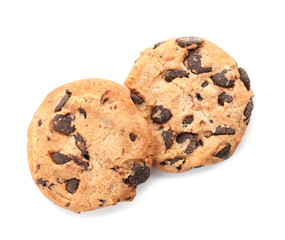 Tasty chocolate cookies on white background, top view
