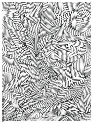 Difficult Uncolored Adult Coloring book page with optical illusion ...