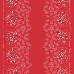 Seamless Vector Monochrome Red and White Abstract Festive Hand Doodled Geometric Border Pattern. Great for holidays, fabric, scrapbooking, home decor, textiles, and backgrounds.