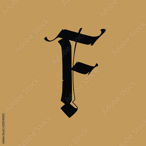 Letter F, in the Gothic style  Vector  Alphabet  The symbol