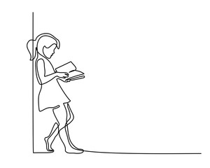 Continuous one line drawing. Girl reading book. Back to school concept. Vector illustration