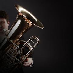 Tuba player brass instrument