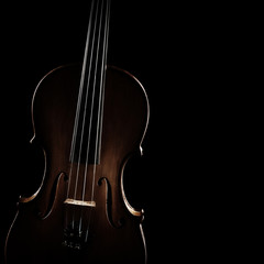 Violin orchestra music instrument closeup isolated on black