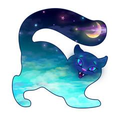 Cat sky cloud moon
