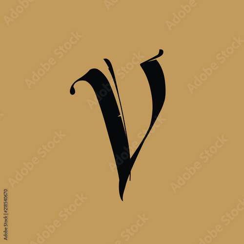Letter V, in the Gothic style  Vector  Alphabet  The symbol