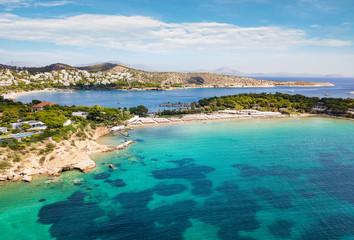 Wall Mural - Luftaufnahme des berühmten Celebrity Astir Beach in Vouliagmeni, Athen, Griechenland