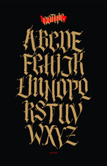 Gothic, English alphabet. Vector set. Font for tattoo, personal and commercial purposes. Elements are isolated on a black background. Calligraphy and lettering. Individual letters.