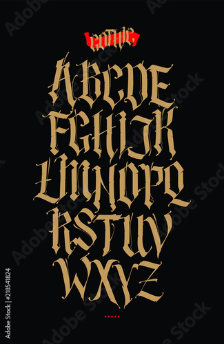 Gothic English Alphabet Vector Set Font For Tattoo