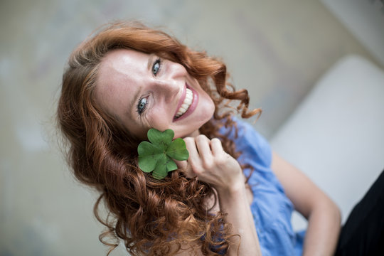 young happy redhead woman
