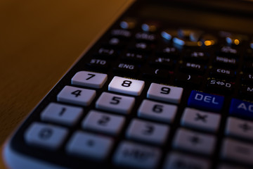 Key number eight of the keyboard of a calculator