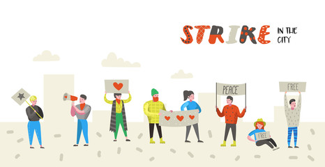 Group of Flat Angry People Protesting at Strike. Characters Picketing Against Something with Banners and Placards. Demonstration, Protest, Picket. Vector illustration