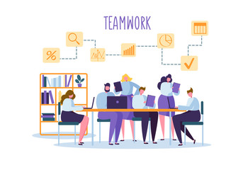 Corporate Business Team People Behind Desk. Flat Characters Office Workers. Teamwork Concept. Coworking Space with Man and Woman with Laptop. Vector illustration