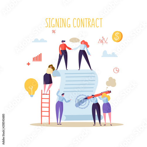 Business Characters Signing Agreement Flat People With Signed