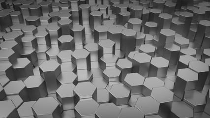 Abstract hexagonal geometric background. Structure of lots metal hexagons. Shiny honeycomb pattern. Creative geometric elements. Digital concept. 3d rendering
