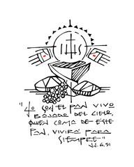 Christian Eucharist Symbols and phrase ink illustration