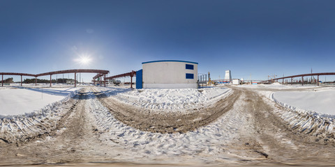 full seamless panorama 360 angle view in winter snow field place site construction of a mining plant in equirectangular equidistant spherical projection, VR content