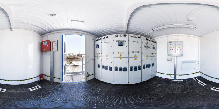 full seamless  panorama 360 degrees angle in interior high voltage power unit shield in equirectangular equidistant projection. VR AR content