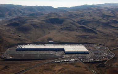 Aerial view of the Tesla Gigafactory