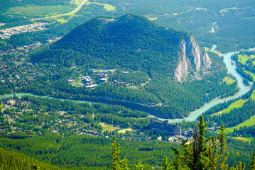 View from mountain top above Bow River in Banff, Alberta, Canada