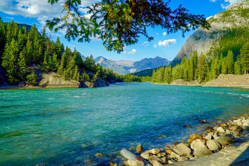Scenic view of Bow River and Mountains in Banff, Alberta, Canada