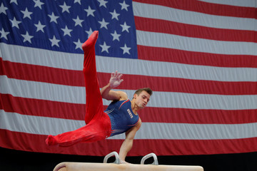 Sam Mikaluk competes on the pommel horse at the U.S. Gymnastics Championships in Boston
