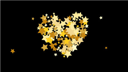 Abstract Background with Many Random Falling Golden Stars Confetti .