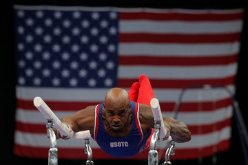 Donnell Wittenburg competes on the parallel bars at the U.S. Gymnastics Championships in Boston